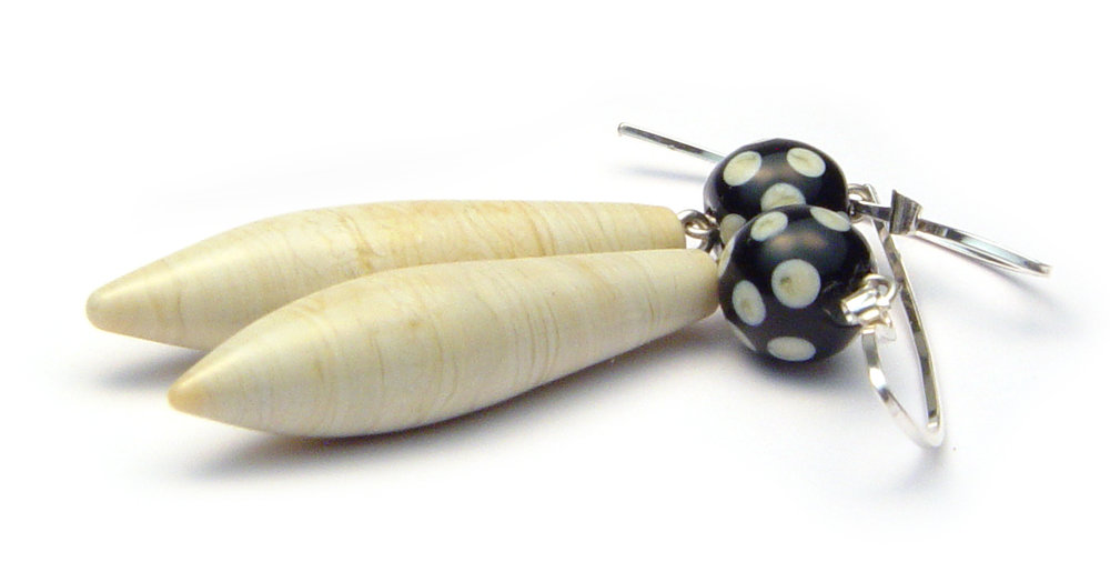 Ivory Pod Earrings - $50 JillSymons.com Lampwork