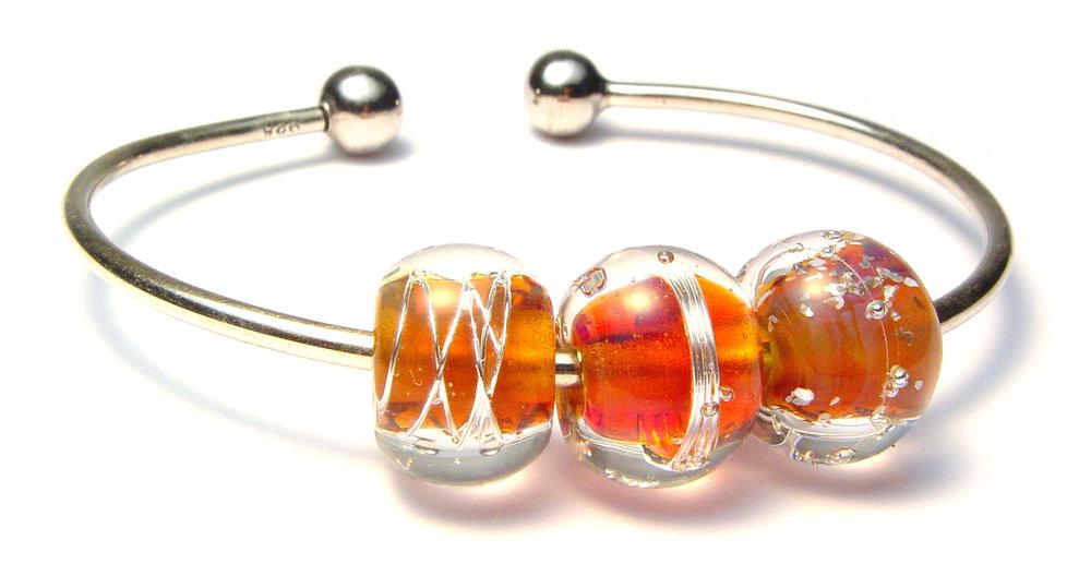 JillSymons.com Lampwork   Lampwork SS Beaded Bracelet #11 - $65
