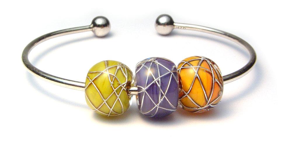 JillSymons.com Lampwork   Lampwork SS Beaded Bracelet #5 - $65