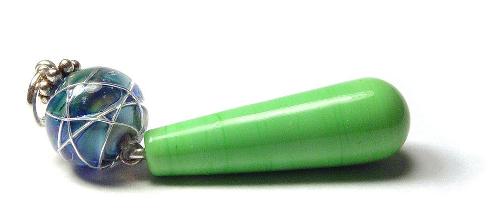Jetstream Kiwi Pendant - $40 JillSymons.com Lampwork