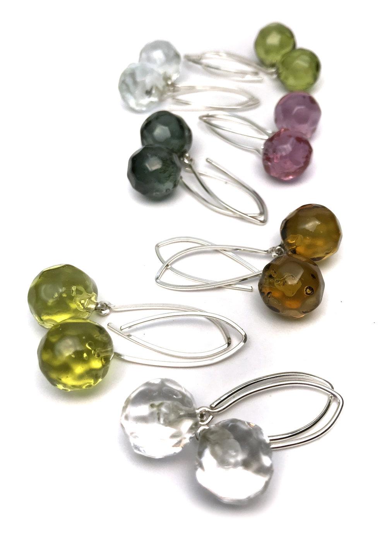 Faceted Transparent Earrings - $45 JillSymons.com Lampwork