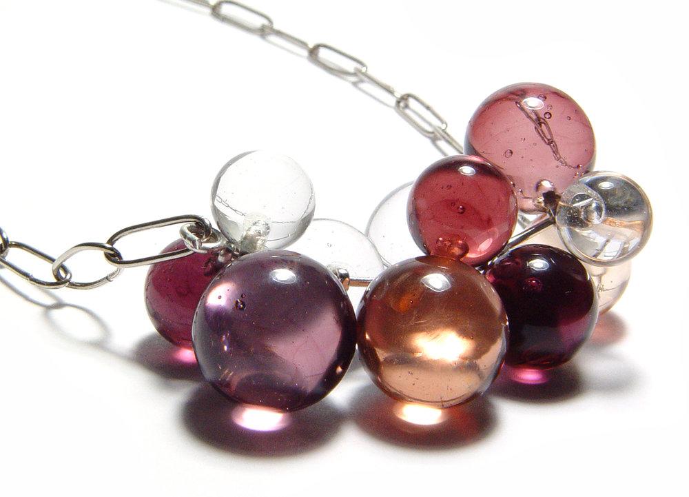 Swingy Warm Color Bubble Necklace - $125 - SOLD JillSymons.com Lampwork