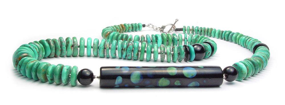 Serpentine Tapered Turquoise Necklace w/ Lampwork Focal - $175 JillSymons.com Lampwork