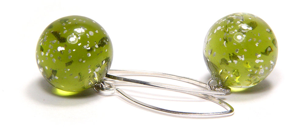 Lt Grn Tinsel Ball Earrings - $55 JillSymons.com Lampwork