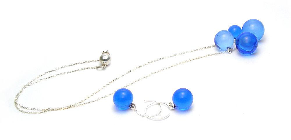 Springtime Blue Bubble Set - $100   JillSymons.com Lampwork