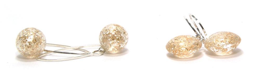 Golden Glitterballs, Glitter Lentils - $50pr