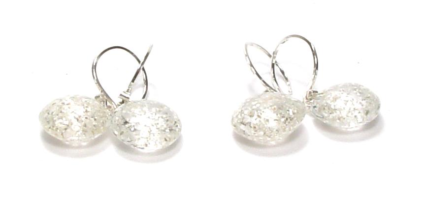 Silvery Glitter Lentils - $50pr JillSymons.com Lampwork