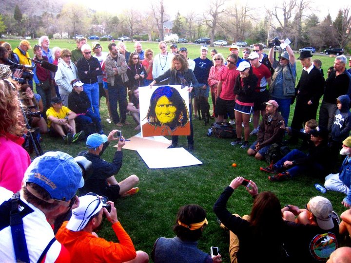 Geronimo was a central figure and an inspiration for Micah. This portrait of him, by famed artist Andy Warhol, was presented to Maria Walton at the Boulder Memorial Run on April 7, 2012.
