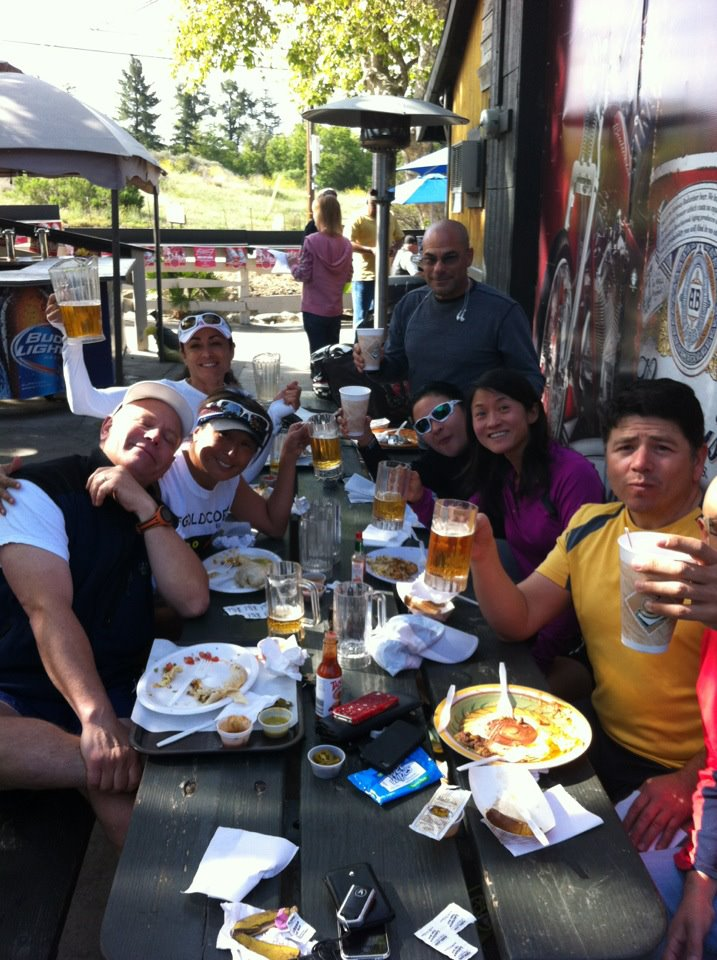 Aida Wasilewski and friends, after their memorial run in California. Cheers to Micah....!!! Breakfast after our memorial run in Trabuco Canyon, California