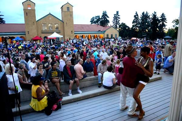 Jig and Senora Gillespie dance during City Park Jazz on Sunday night, the final concert of the year. (AAron Ontiveroz, The Denver Post)