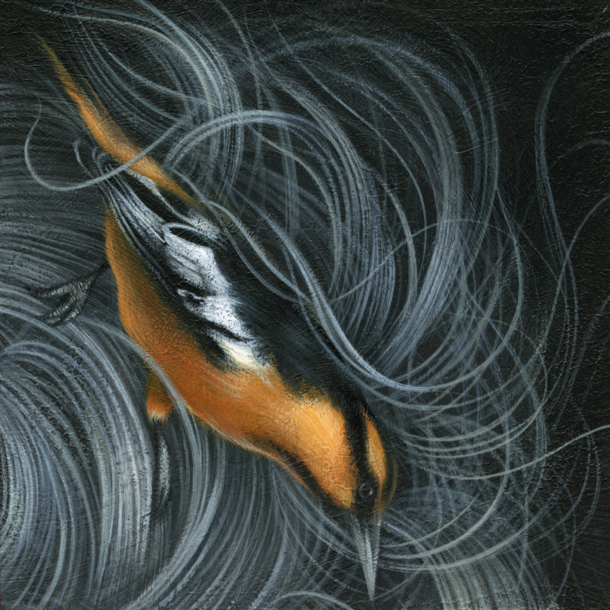 "Oriole acrylic on cradled wood panel 6"" X 6"" X 1.5"" $450 SOLD"