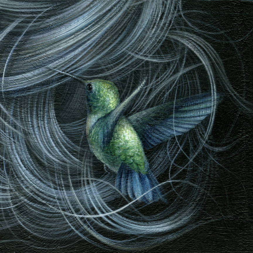 "Emerald Hummingbird acrylic on cradled wood panel 6"" X 6"" X 1.5"" $450 SOLD"