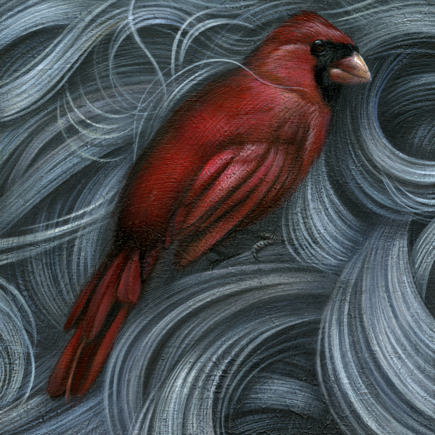 "Cardinal acrylic on cradled wood panel 6"" X 6"" X 1.5"" $450 SOLD"