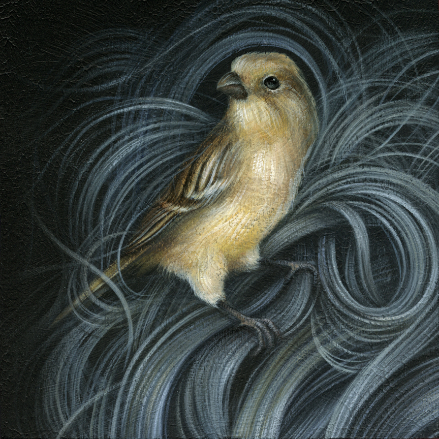 "Canary acrylic on cradled wood panel 6"" X 6"" X 1.5"" $450 SOLD"