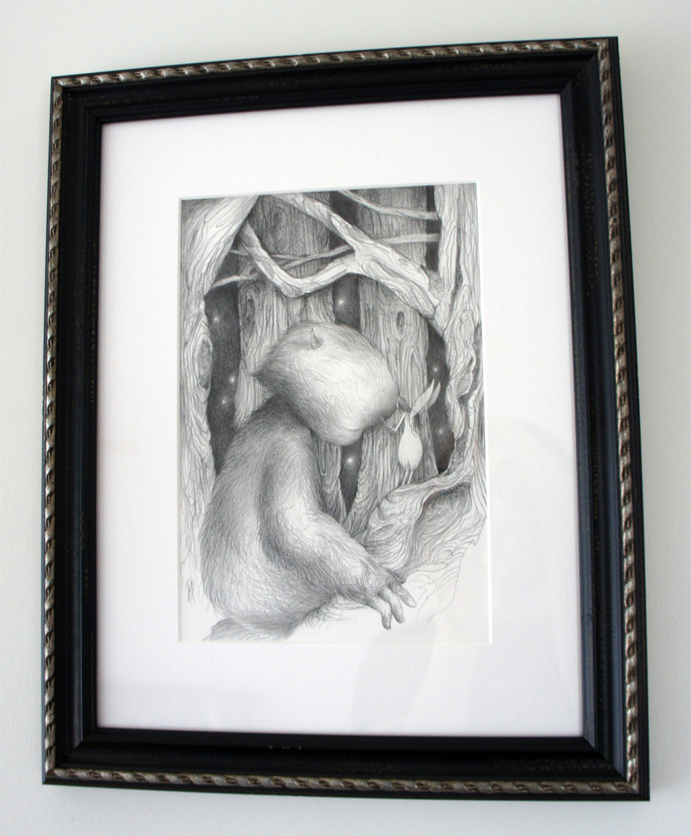 "Luminous Whispers (drawing) graphite on bristol 7"" x 10"" / 14"" X 17"" framed & matted $500 SOLD"