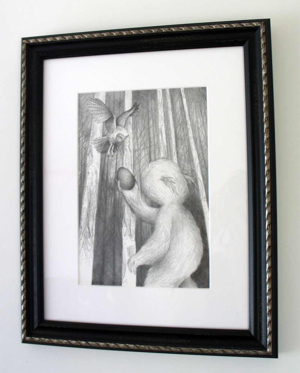"Silent Exchange (drawing) graphite on bristol 7"" X 10"" / 14"" X 17"" framed & matted $500 SOLD"
