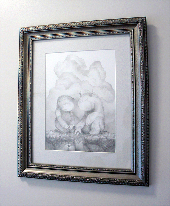 "At the Water's Edge (drawing) graphite on bristol  8"" x 10.5"" / 14"" X 17"" framed & matted  $500 SOLD"