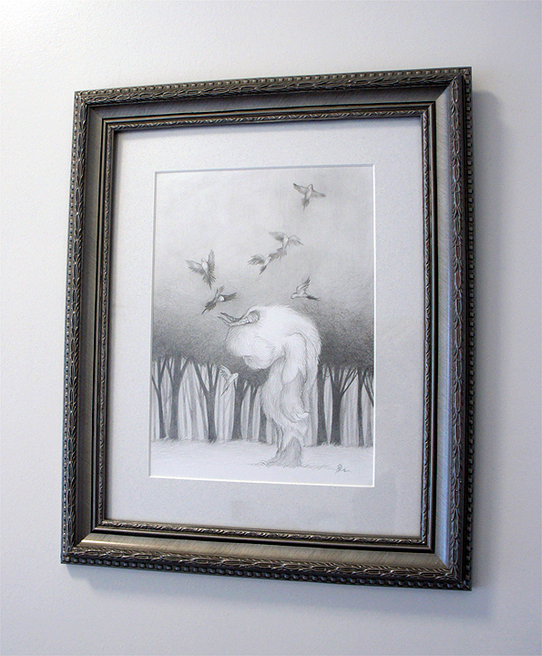 "Until We Meet Again (drawing) graphite on bristol  8"" x 10.5"" / 14"" X 17"" framed & matted  $500 SOLD"