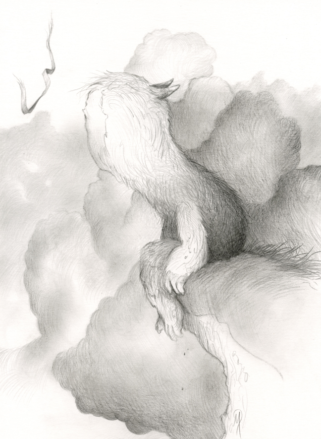 "Delicate Descent (sketch) graphite on bristol  8.5"" x 12"" - unframed  $350 SOLD"