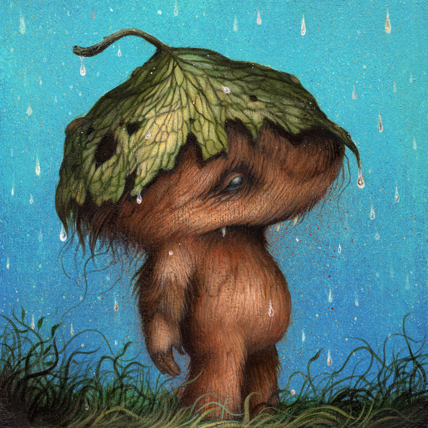 "April Showers acrylic on wood cradled panel 6"" X 6"" X 1.5"" $500 SOLD *click on image for larger view"