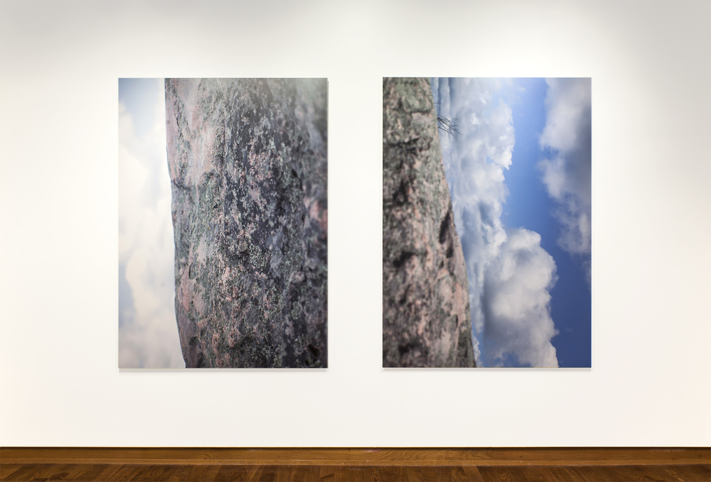 Dayscapes (#1, #2, Upended), 2013, Choromogenic Prints, 67 x 50 inches each (Photo credit: Toni Hafkenscheid) 'Captured in the clear light of day, Wright's upended 'Dayscapes' depict an uncertain topography. Distorting the angle of view and central focus of the scene, solid ground is presented as weightless pattern alongside picturesque sky'
