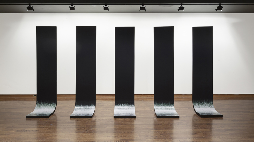 Still Water,2009,5 Sculptural Elements,Laminated Plywood, Lambda Prints (227cm x 61cm x 46cm each) Photo: Toni Hafkenscheid