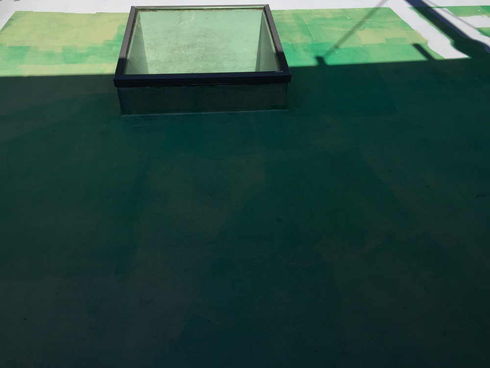 Composition # 1 (green, grey, skylight, sunlight, shadow), 2015, Tufdek paint on plywood, 450 square feet.