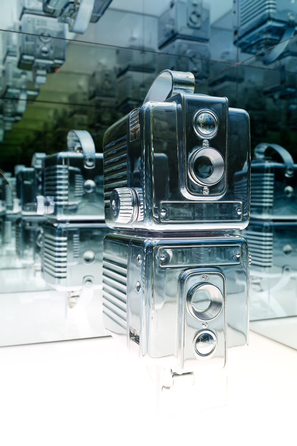 Disused Twin Brownie Hawkeye Cameras,   Silvered objects, custom plinth, 33 x 33 x 152cm, 2015