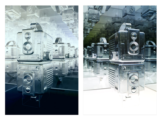 Andrew Wright, Two views of Disused Twin Brownie Hawkeye Cameras, 2015, silvered objects, custom plinth