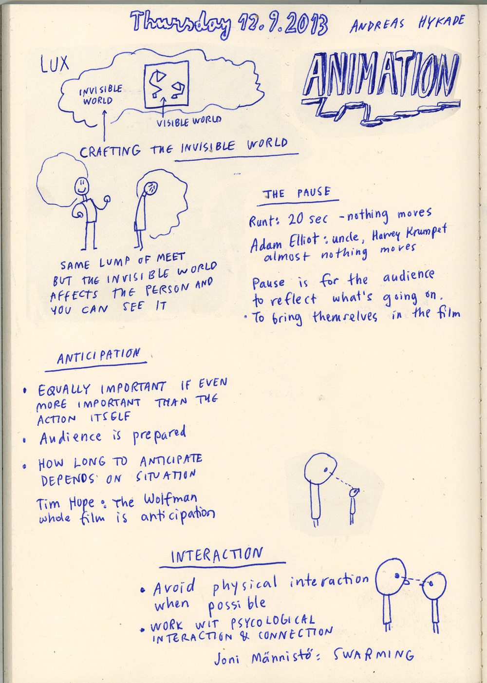 Notes of the lecture by Andreas Hykade