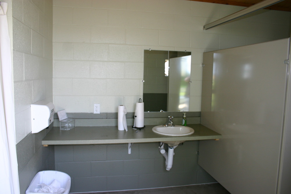 Spacious restrooms with showers are clean and available before and after your trip.