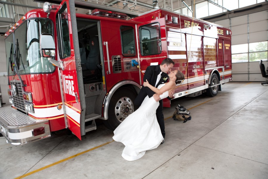Amy and Ryan at the Sterling Heights Fire Station, Wally Spice Photography