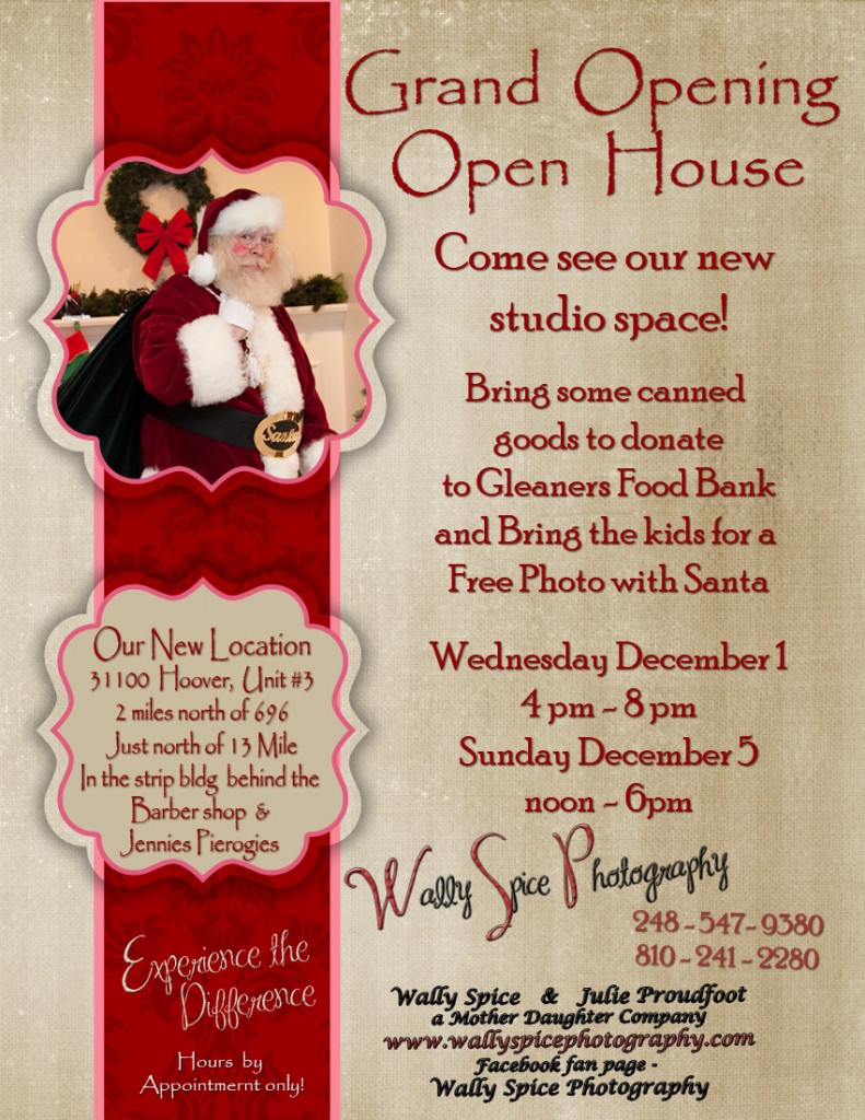 Open House Flier for Wally Spice Photography's new Studio Space