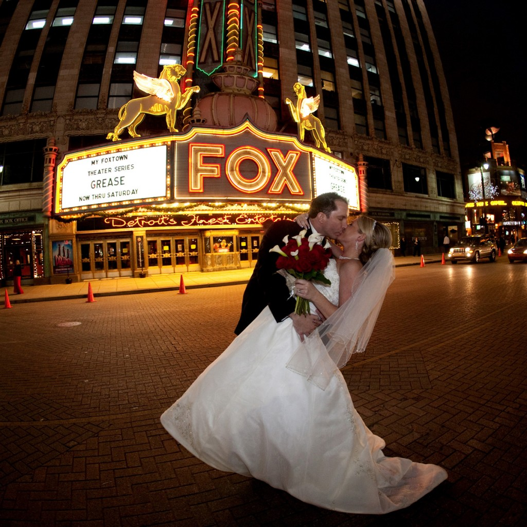 Lindsey and Scott, Detroti Urban Shoot in Detroit by the Fox Theater