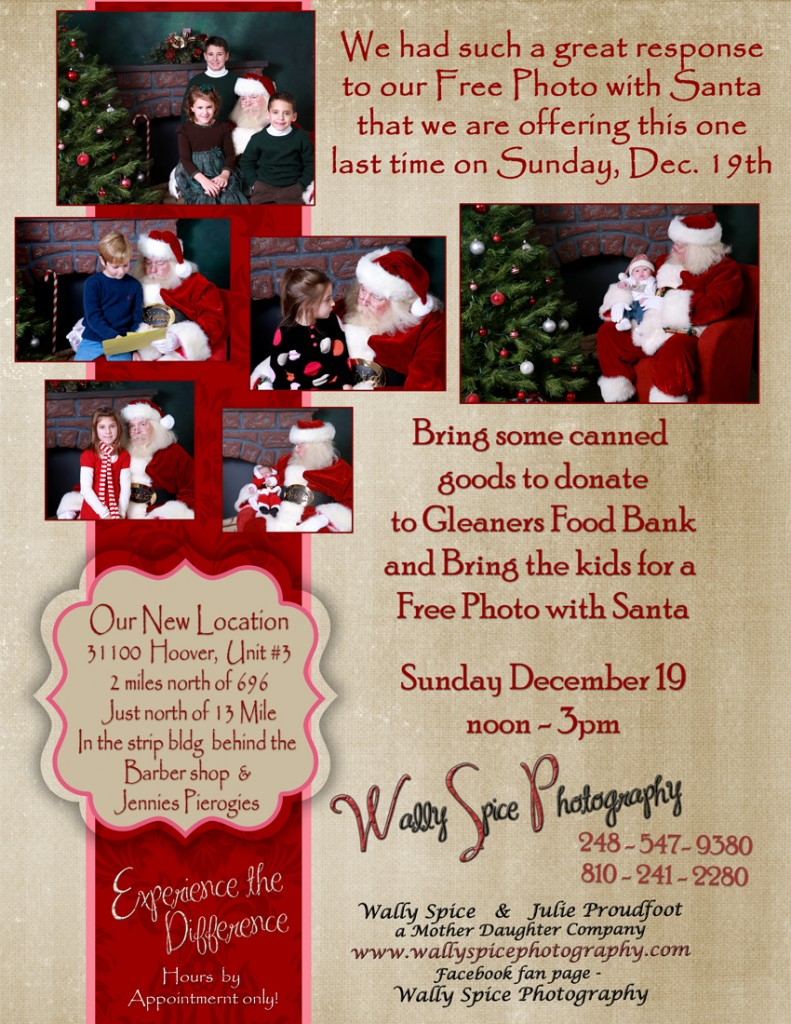 Flyer for a Santa Session at Wally Spice Photography Studio