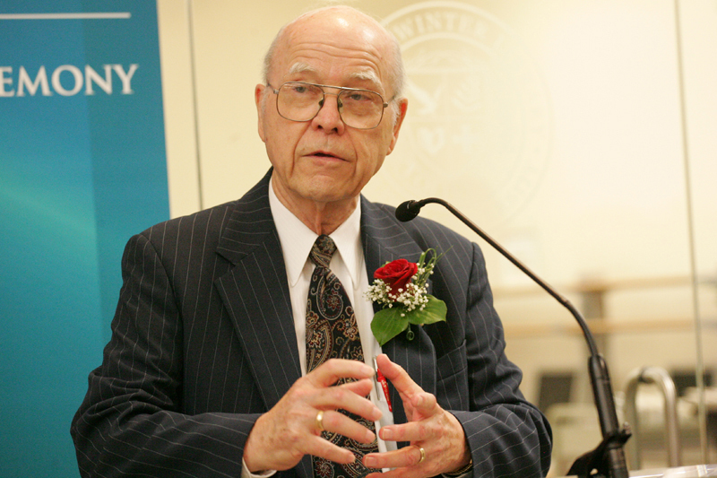 Ralph D. Winter speaking at the dedication of the  Ralph D. Winter Library  at Olivet University in July, 2007
