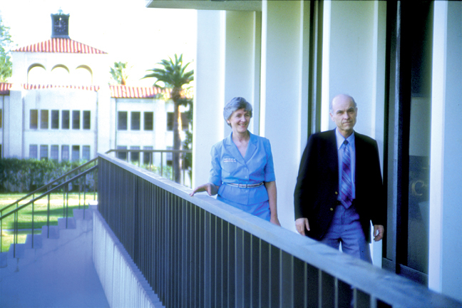 Ralph and Roberta walking beside Latourette Library on the campus of William Carey International University, Pasadena, CA - c. 1978.
