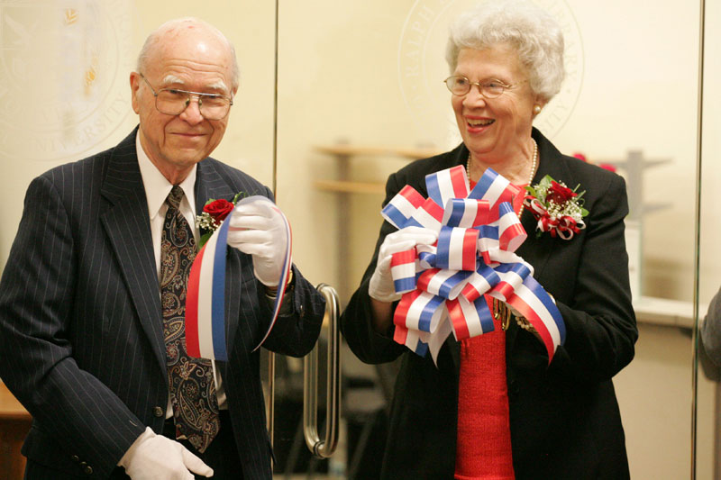 Ralph and Barbara Winter at the Ribbon-cutting ceremony officially opening the  Ralph D. Winter Library  at  Olivet University  in San Francisco. Used with Permisson.
