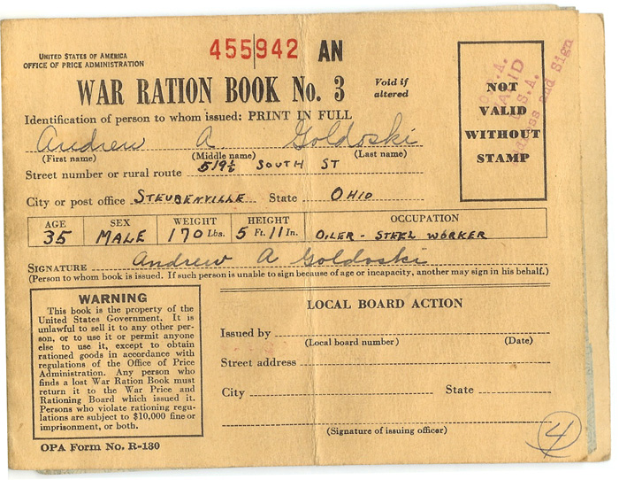 "An authentic U.S. ration booklet from World War II. These instructions appeared on the back cover of the booklet: ""Rationing is a vital part of the war effort.  Any attempt to violate the rules is an effort to deny someone his share and will create hardship and help the enemy. Be guided by the rule: ""If you don't need it, DON'T BUY IT."""