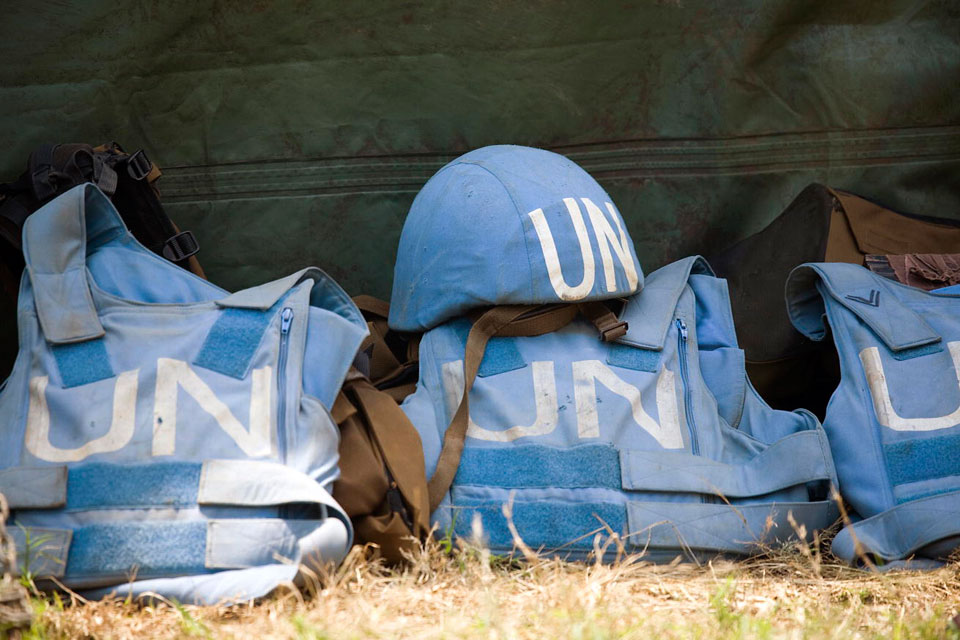 Helmet and flack jackets of the members of the 1 parachute battalion of the South African contingent of the United Nations Peacekeeping Mission in the Democratic Republic of the Congo (MONUC). 14/Feb/2008. UN Photo/Marie Frechon
