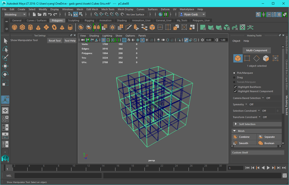subdivided cubes in Maya