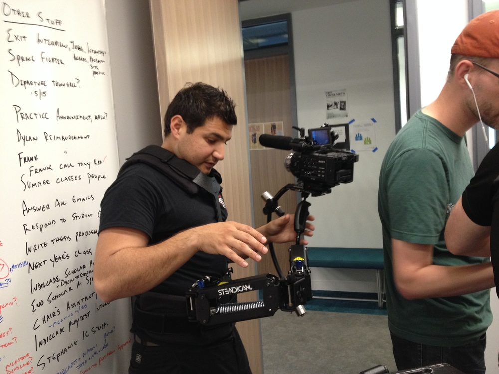 Cesar prepares the SteadiCam for the rest of the day's shoot at NYU Game Center.
