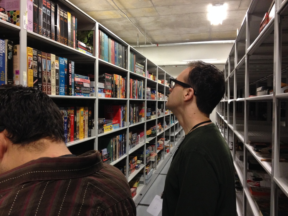 Frank Cifaldi and Cesar look over a few of the over 400,000 toy and videogame artifacts at the Strong National Museum of Play in Rochester, NY.