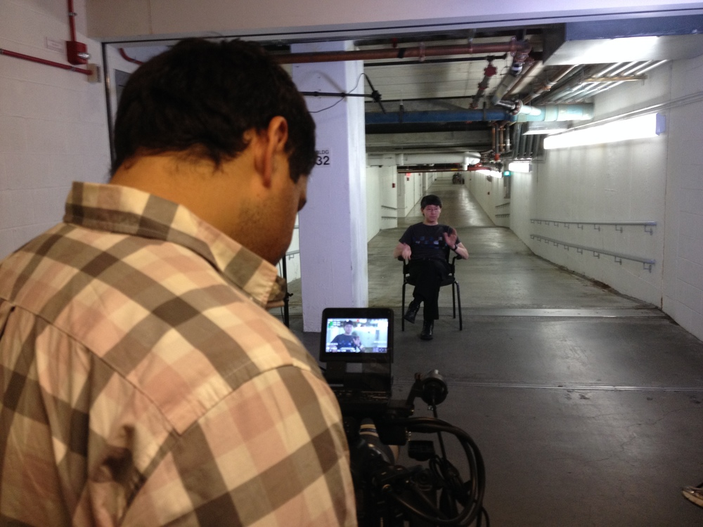 Interview setup in the tunnels beneath MIT where Space War, the world's first videogame, was created.