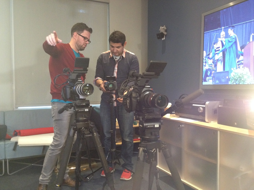 Jason and Ryan get the setup just right at the NYU Game Innovation Lab.