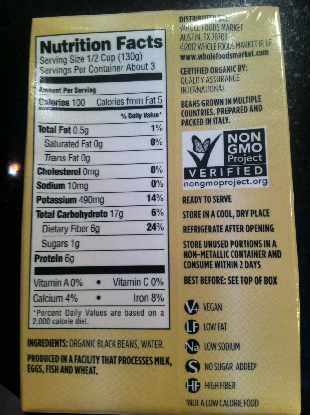 Tetra Pak of Beans from Whole Foods.     Organic. BPA-free. Very Low Sodium.