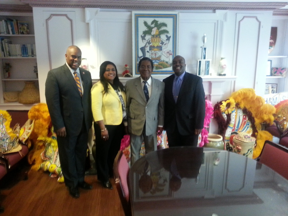 Springer & Stringer with Ambassador Dr. Eugene Newry and Consul General Paulette Zonicle at the Embassy of the Bahamas in Washington, DC