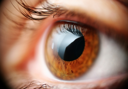 A healthy cornea is clear and bright