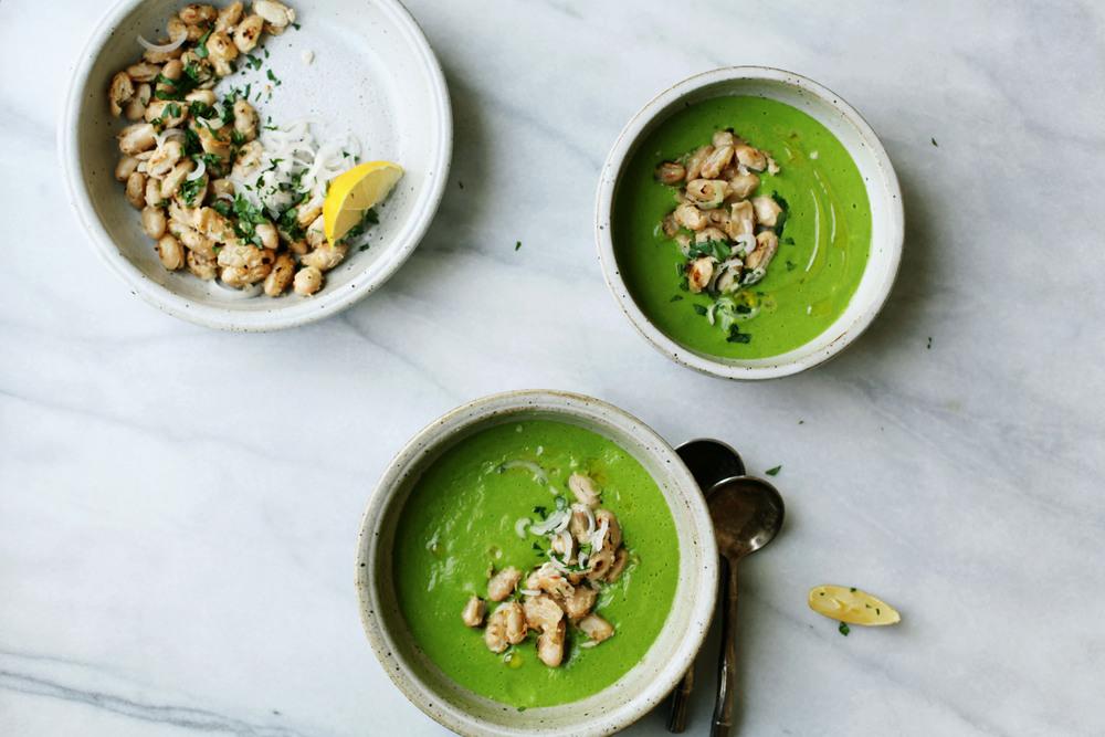 Asparagus + Pea Soup with Crisp Beans | Tara O'Brady