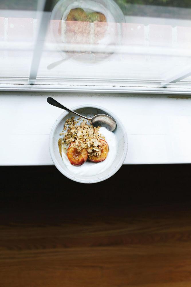 Roasted Peaches with Sesame Oats   Tara O'Brady